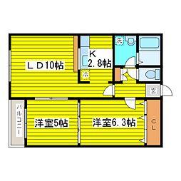 北海道札幌市東区北十八条東19丁目の賃貸マンションの間取り