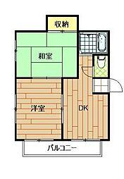 神奈川県横浜市港北区綱島東6丁目の賃貸マンションの間取り