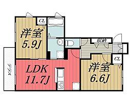千葉県千葉市若葉区桜木4丁目の賃貸アパートの間取り
