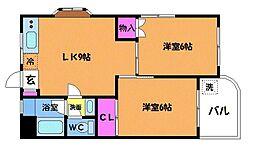 東京都調布市菊野台2丁目の賃貸マンションの間取り