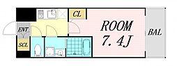 サムティ福島Rufle 5階1Kの間取り