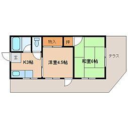 奈良県奈良市あやめ池南6丁目の賃貸アパートの間取り