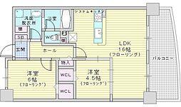 Osaka Metro御堂筋線 江坂駅 徒歩10分の賃貸マンション 1階2LDKの間取り