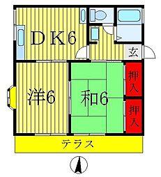 第7みどりハイツ[2階]の間取り