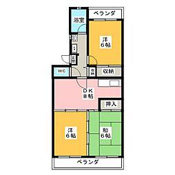SUNCITY・HIKOTA Aー3 2階3DKの間取り