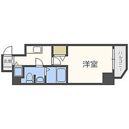 プレサンス梅田東ベータ 11階1Kの間取り