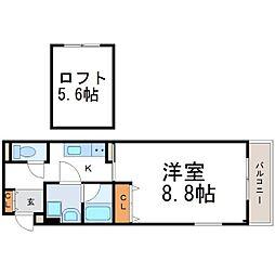 兵庫県尼崎市東難波町4丁目の賃貸アパートの間取り