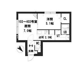 仮)グランメール 南郷通16北 3階1LDKの間取り