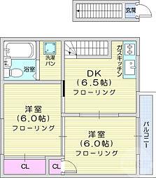 仙台市営南北線 北仙台駅 徒歩14分の賃貸アパート 2階2DKの間取り