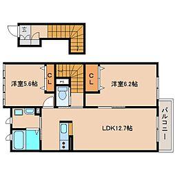 静岡県静岡市清水区駒越中1丁目の賃貸アパートの間取り