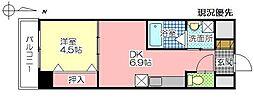 トレステーラリデアル上人 8階1DKの間取り