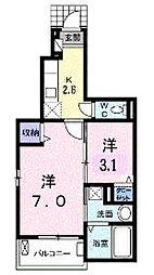 JR山陽本線 福山駅 5.2kmの賃貸アパート 1階1SKの間取り