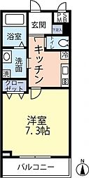 ランヴィ四谷三栄町 4階1Kの間取り