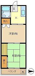 金子コーポ 202[2階]の間取り