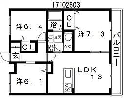 シャーメゾンシェイクハンドII[3階]の間取り