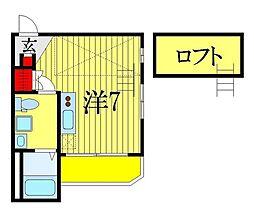 JR総武線 下総中山駅 徒歩14分の賃貸アパート 3階ワンルームの間取り