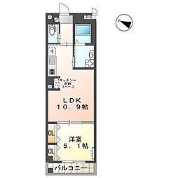 (仮)ユニヴァリィ三篠町店舗付賃貸マンション 4階1LDKの間取り