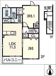 フロラシオン II[2階]の間取り