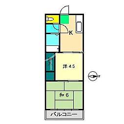ラ・シャンブルK[4階]の間取り