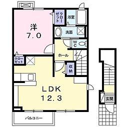 パピリオン東新 2階1LDKの間取り