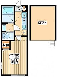 ヴィンティア鶴川 2階1Kの間取り