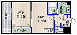 ラポール干隈[4階]の間取り