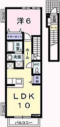 兵庫県姫路市白浜町宇佐崎北2丁目の賃貸アパートの間取り