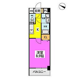 仮)ハイツウェルス4九大マンション 6階1Kの間取り