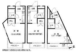 インロックマンション[308号室]の間取り
