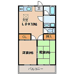 埼玉県東松山市松葉町3丁目の賃貸アパートの間取り
