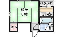 シャトー西田辺[405号室]の間取り