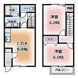 [テラスハウス] 愛知県北名古屋市鹿田 の賃貸【/】の間取り