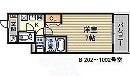 ウインズコート新大阪2 2階1Kの間取り