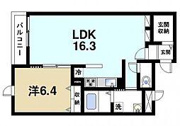 パレス田原本 2階1LDKの間取り