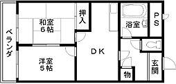プレジデントハイツ東岸和田[402号室]の間取り