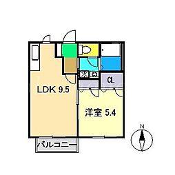 シャーメゾン・ボヌールA棟[2階]の間取り
