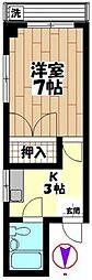 富士コーポ[102号室]の間取り
