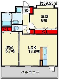 フェルト127 5階2LDKの間取り
