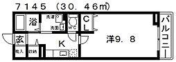 カーサここII[201号室号室]の間取り