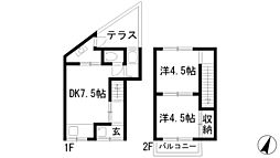 [テラスハウス] 兵庫県宝塚市南ひばりガ丘3丁目 の賃貸【/】の間取り
