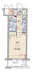 エステムコート梅田・天神橋リバーフロント 7階1Kの間取り