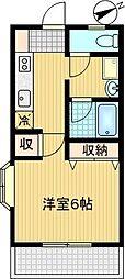 シノン鶴牧[205号室]の間取り
