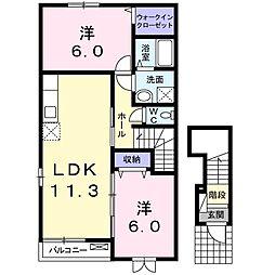 フリーデI 2階2LDKの間取り
