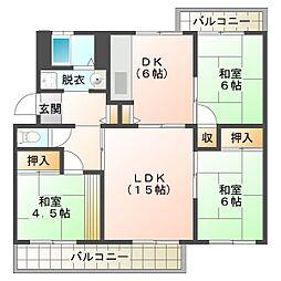 名谷13団地[3階]の間取り