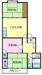 エクレール大美野 2階3LDKの間取り