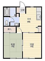ブルーグレース富岡[103号室]の間取り