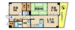 兵庫県明石市小久保6丁目の賃貸マンションの間取り
