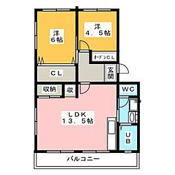 マンションサングリーン[2階]の間取り