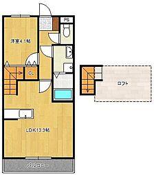 JR鹿児島本線 水巻駅 徒歩9分の賃貸アパート 2階1LDKの間取り
