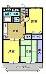 コーポラスソレイユ 2階3DKの間取り